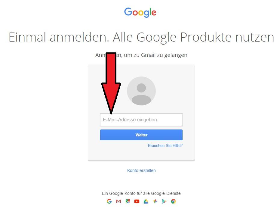 gmail.de login - emailadresse eingeben