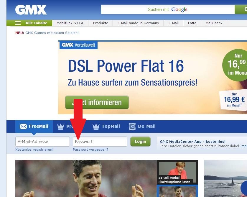 gmx.de login - passwort eingeben