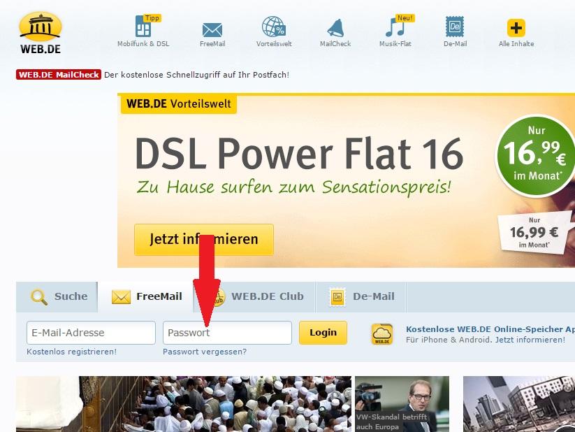 web.de login - passwort eingeben